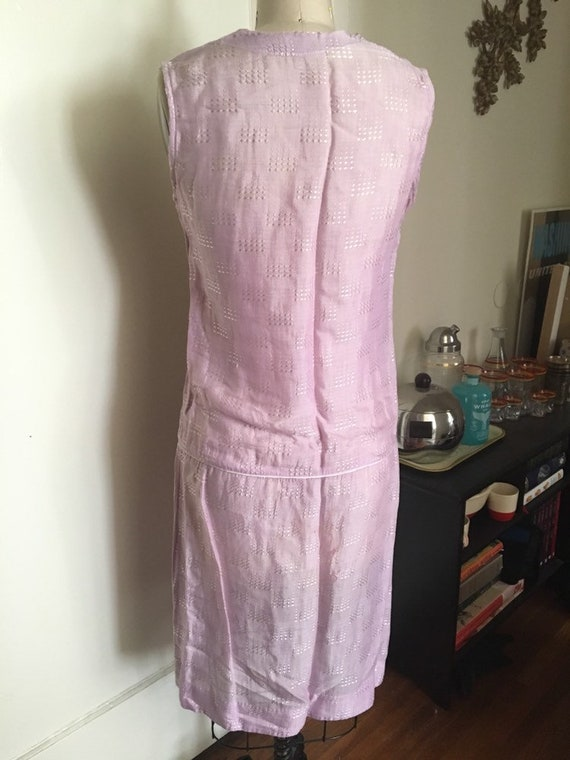 1920s 20s Lavender silk woven flapper day shift d… - image 7