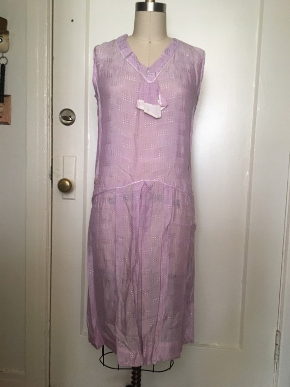 1920s 20s Lavender silk woven flapper day shift d… - image 3