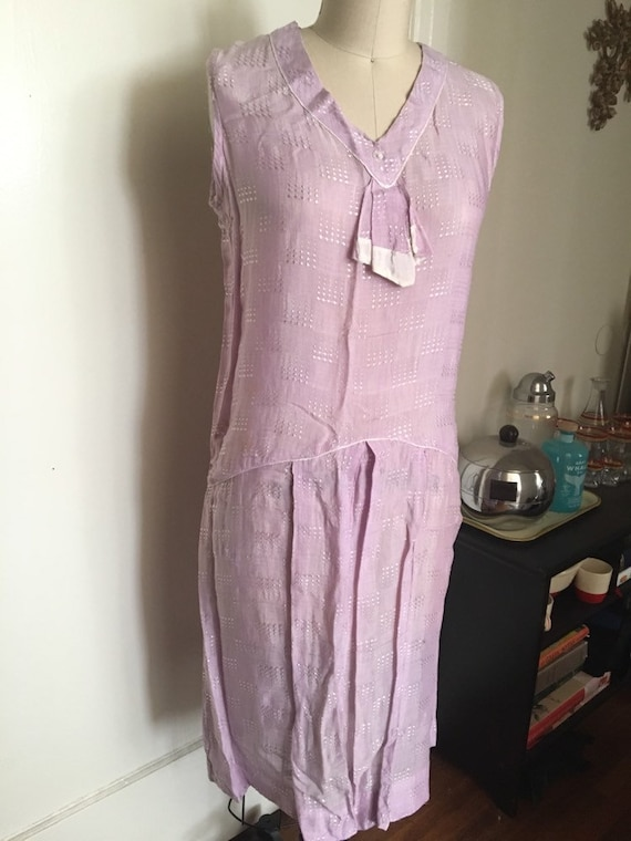 1920s 20s Lavender silk woven flapper day shift d… - image 2