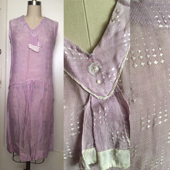 1920s 20s Lavender silk woven flapper day shift d… - image 1