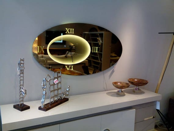 Oval Wall Mirror Clock In Bronze Color With Led Lighting