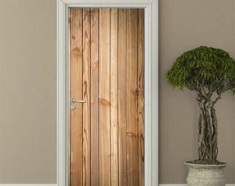 Houten planken muur deur sticker houten deur sticker houten etsy
