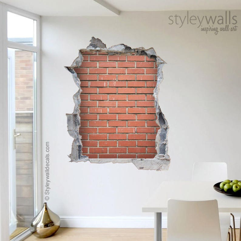 red bricks wall decal bricks mural hole in the wall 3d | etsy