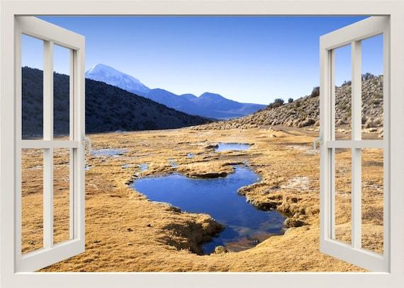 Wandtattoo berge landschaft natur wandtattoo 3d fenster etsy - Wandtattoo natur ...