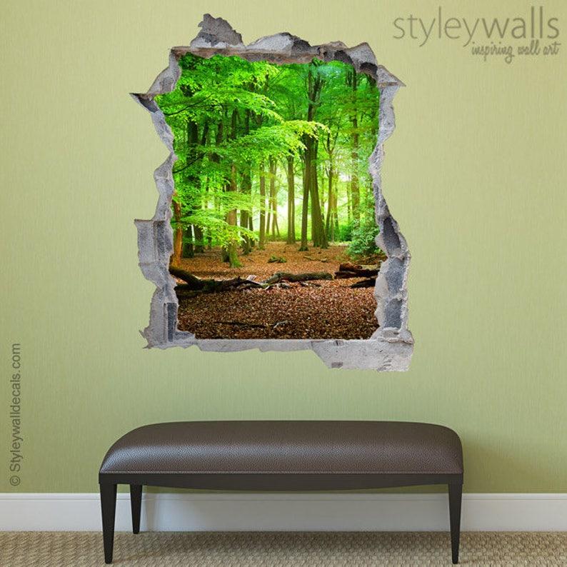 Wandtattoo Wald Loch In Der Wand Wald 3d Etsy