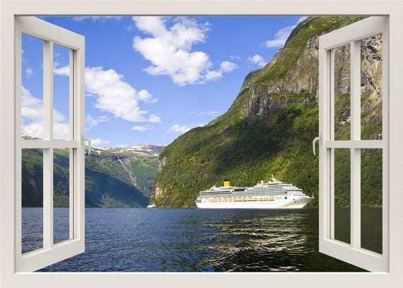 Cruise Wall Decal Ship Traveling Wall Sticker 3d Window Etsy