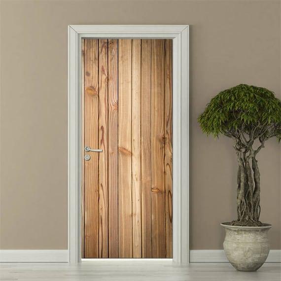 Wooden Planks Wall Sticker Wooden Door Sticker Wood Wall Decal Wood Textured Door Cover Wood Wallpaper Mural Door Wrap For Fridge Door