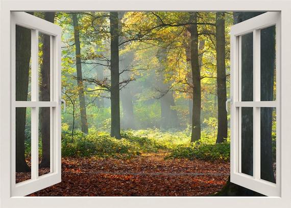 Wald-Wandtattoo Herbst Wandtattoo 3d Fenster Wandtattoo