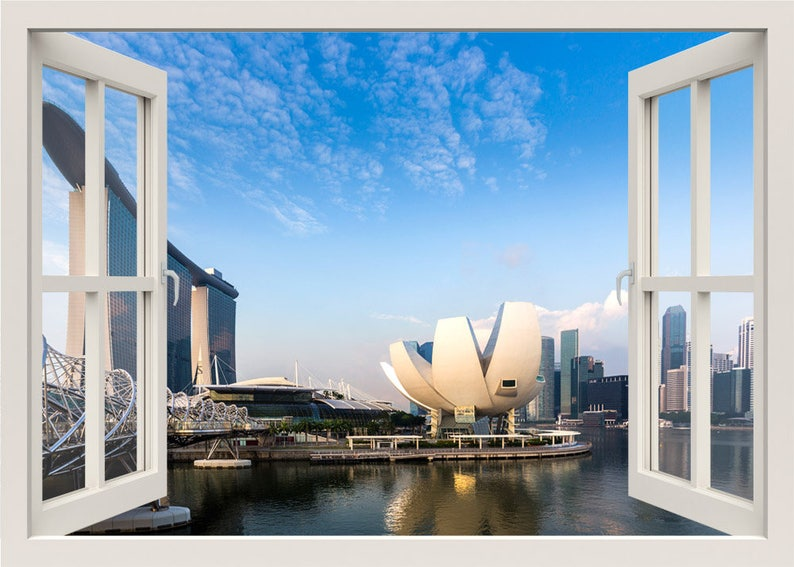Singapore Wall Decal, Singapore Modern City Wall Decal, 3d Window Wall  Decal, View Window Frame, Window View Home Decal, Wall Mural