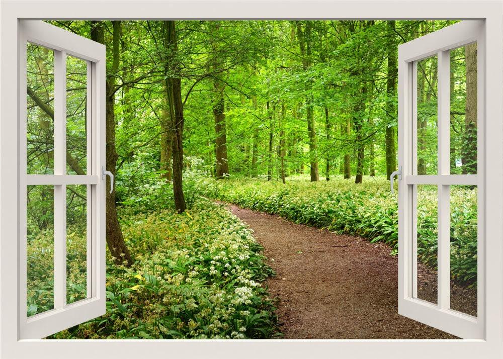Weg in den Wald-Wandtattoo Bäume 3d Fenster Ansicht Natur Wand | Etsy