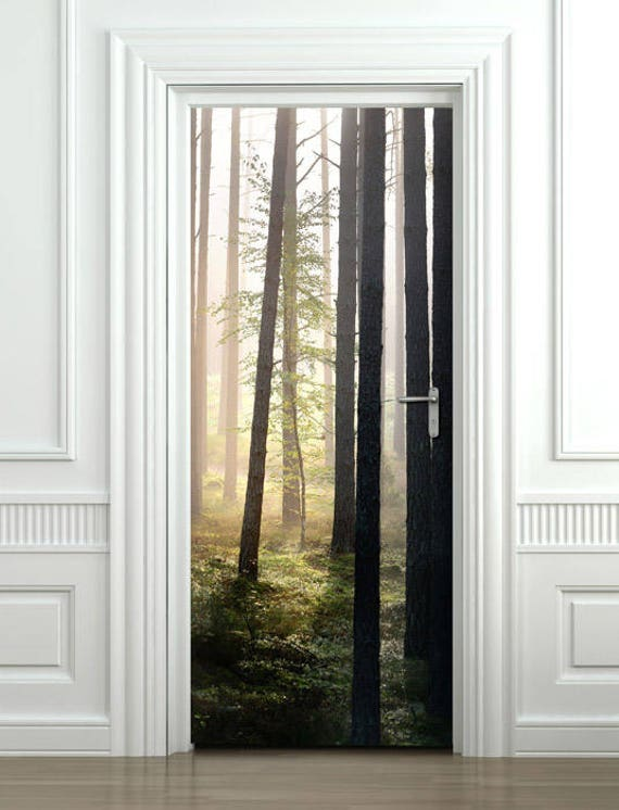 Wall Wood Fridge Self-Adhesive Forest Theme Door Wrap Mural Sticker Decal