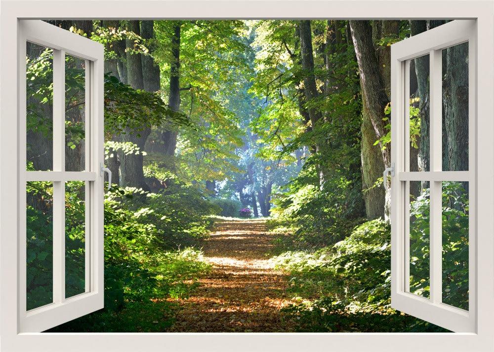 Wald-Wandtattoo Gehweg Wald 3d Fenster Wand Aufkleber Wald | Etsy