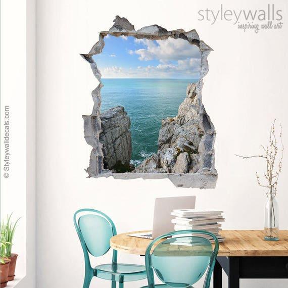 Felsen Wand Wandtattoo Sea View, Loch in der Wand 3d Effekt Wand Aufkleber,  3d Wandtattoo gebrochen Wand 3d Effekt Wandbild Home Dekor