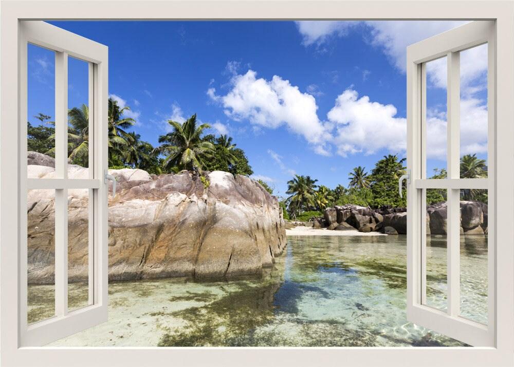Tropischen Strand Wand Wandtattoo 3d Fenster tropischen Meer | Etsy