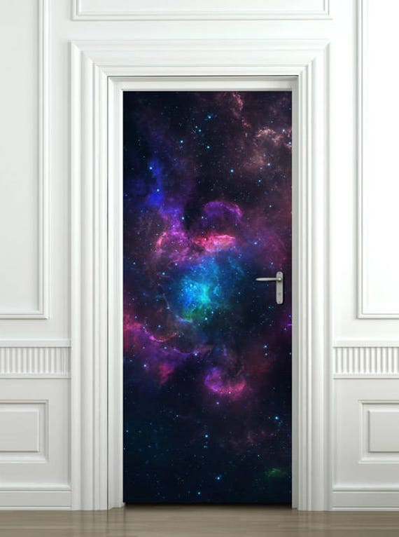 space wall decal galaxy wall sticker door mural galaxy | etsy