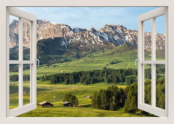 Mountains View Wall Decal 3d Window Wall Decal Mountain
