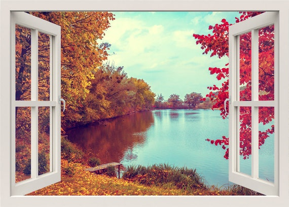 autumn landscape wall decal lake wall decal 3d window wall | etsy