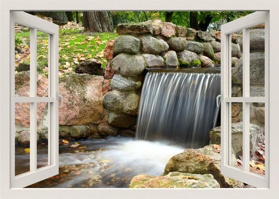 Wasserfall Wand Aufkleber Wasserfall Wand Wandbild Wasserfall Wand Aufkleber Natur Wand Aufkleber 3d Fenster Ansicht Aufkleber Wohnzimmer