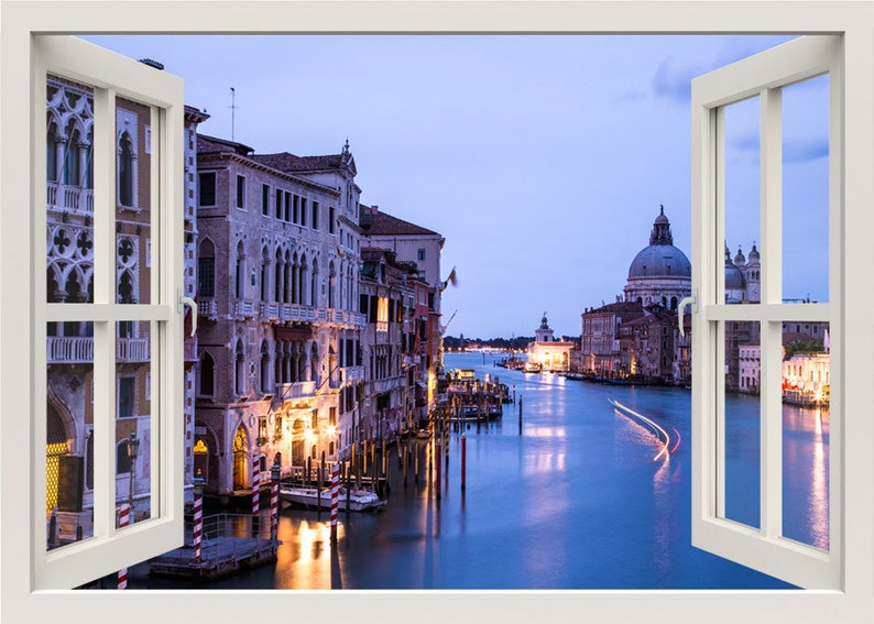 Italy Wall Sticker Venice Wall Decal Wall Mural Grand Canal Wall Decal Window Frame 3d Window Wall Decal Window View Home Decal