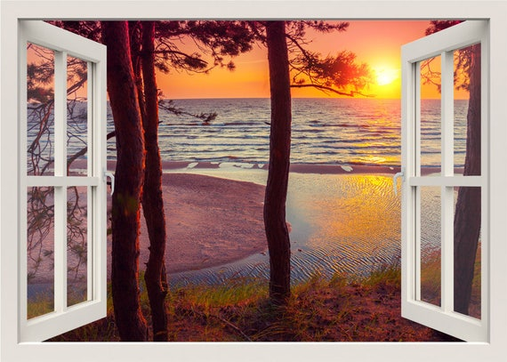 Sunset Wall Decal Beach Wall Decal 3d Window Wall Decal Etsy