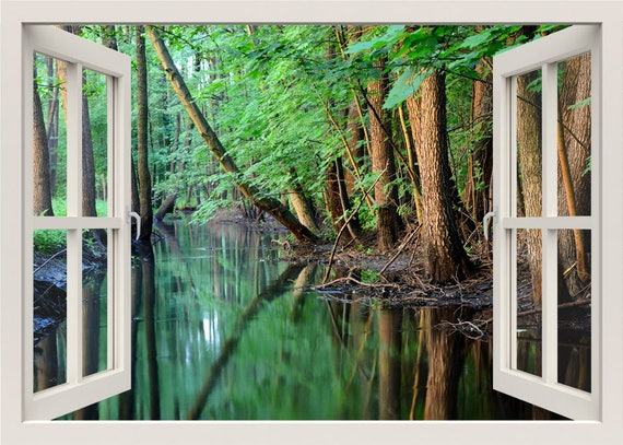 River Scene Wall Decal Forest Wall Sticker Mural 3d Window
