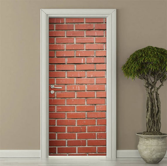 red bricks wall decal red bricks door sticker bricks wall | etsy