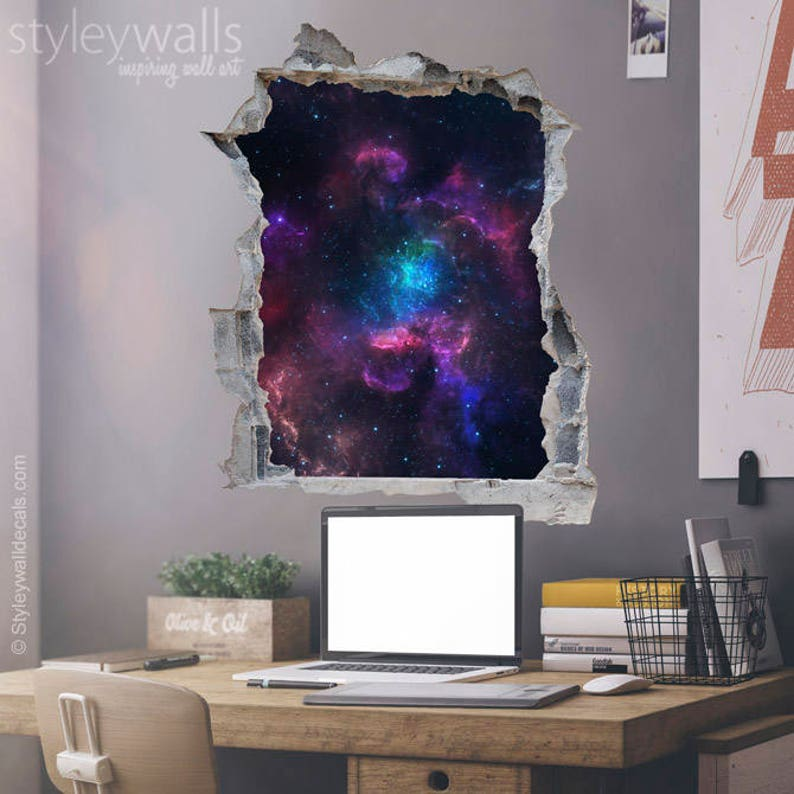 space wall decal galaxy wall sticker hole in the wall 3d | etsy