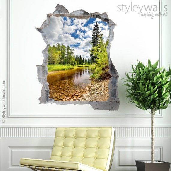 river wall decal mural river nature mural hole in the wall | etsy