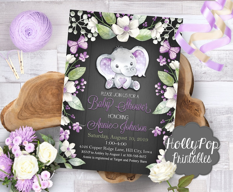 Baby shower invitation Purple elephant theme Floral elephant image 0