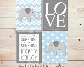 Baby boy wall decor Printable nursery art Blue gray Elephant nursery decor Printable boy art Instant download You are my sunshine #0720