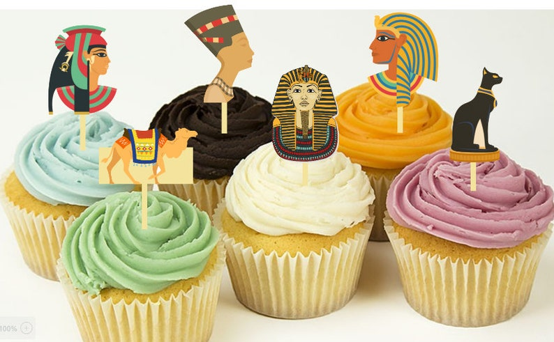 12 Egypt Pyramids Toga Party Cupcake Toppers Food Etsy