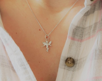 Angel necklace, Guardian angel, sterling silver necklace, angel jewelry, girls necklace, angel charm necklace, angel pendant necklace, gift