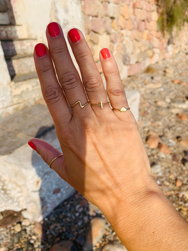 Cross ring Gold Bar Ring 14K Solid Gold or Rose Gold