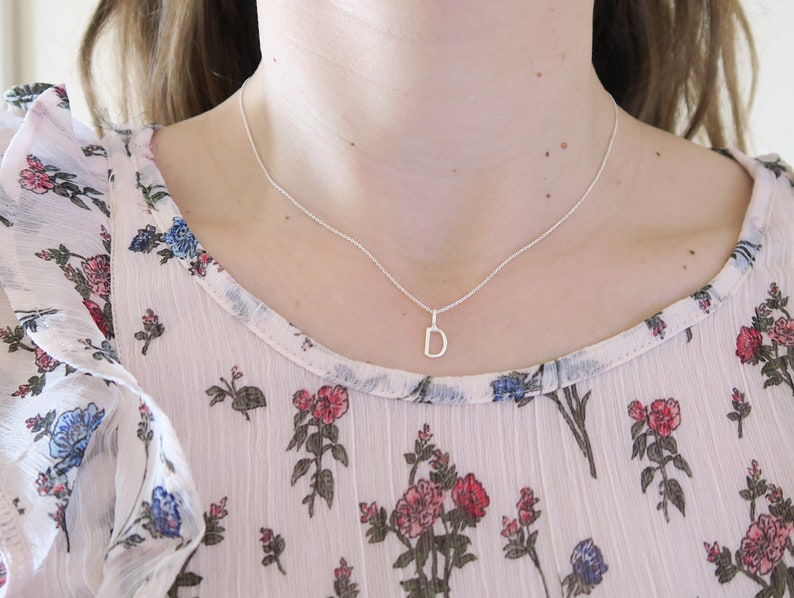 Sterling silver letter necklace