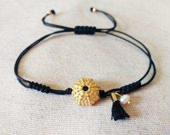 Evil eye bracelet Sea urchin bracelet Greek bracelet Made in Greece Gold sea urchin Tiny sea urchin Dainty bracelet