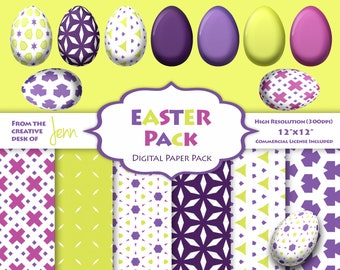 Instant Download Easter Egg Clipart and Digital Paper Pack