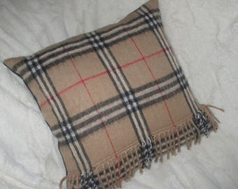 Redesigned Burberry Pillow / Cushion / Handmade Pillow  / Reused materials / Gift for him.