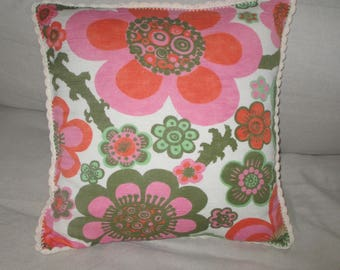Flower Power Pillow/Nordic/Redesigned pillow/Redesigned Cushion /Handmade /Hand  crocheted/ Reused materials / Retro Textiles / Vintage