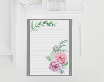 Watercolour Floral Paper / Notepaper / Happy mail / Penpal / Stationary / Letters / Notepaper / Snail Mail