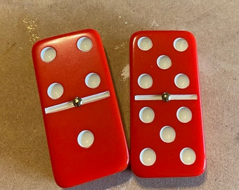 Double 6 Dominoes Red Spinner Travel Domino Set