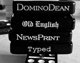 Double 6 Dominoes Black Dominoes  | PERSONALIZABLE Domino Set | Unique Side Engraved Dominos Set Double 6 Black