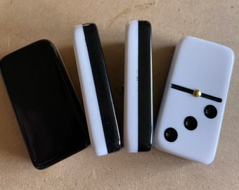 Double 6 Black & White Dominoes Two-Tone Dominoes in wood box