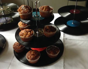 Vintage Record Cake Stand/ 3-tier display stand/centre piece/gift idea