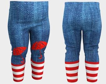 RAINY DAYS: Leggings Baby Toddler Umbrella Stripes Denim Red White Blue EcoPoly Spandex