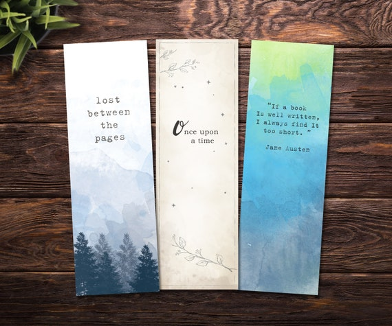 photo regarding Bookmarks Printable known as Printable bookmarks / Watercolor bookmarks, preset of 3 printable bookmarks - Quick down load reward for e-book fans