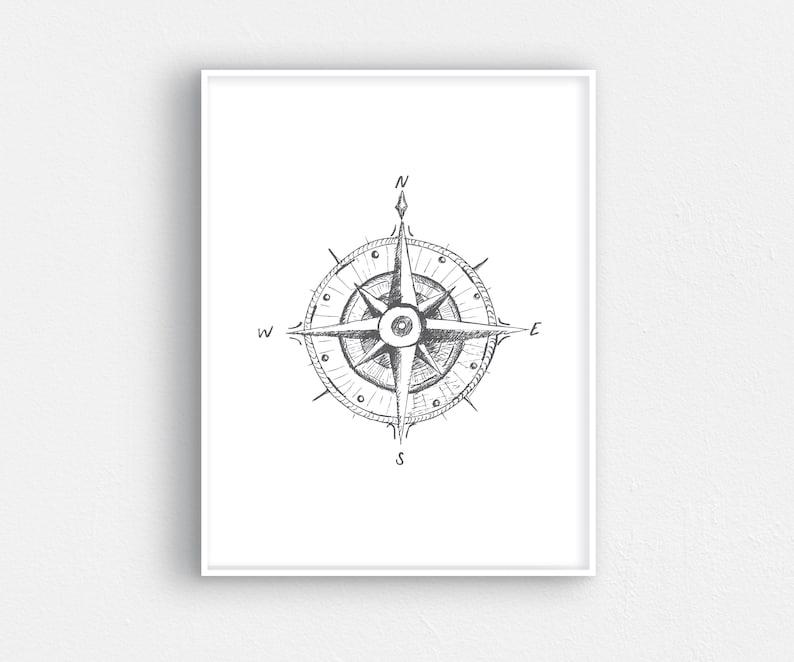 picture regarding Printable Compass titled Printable hand drawn comp artwork - Printable comp artwork - Hand drawn comp - Nautical artwork - Coastal artwork - Nautical decor
