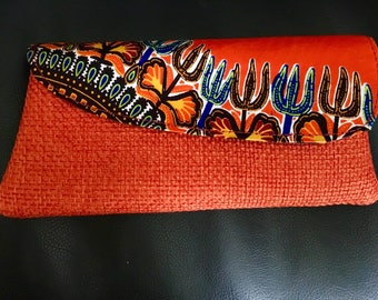 Small African clutch purse with shwe shwe fabric detailing