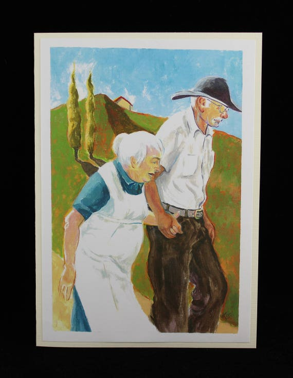 Old Couple Walking in Country from a Painting by Karlene Voepel