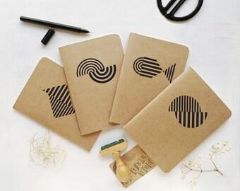 SET 4 BLACK NOTEBOOKS - Mediterrani Collection - Kraft Notebook - Cutting vinyl