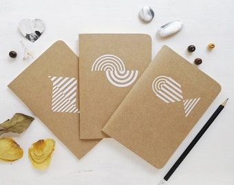 SET 3 WHITE NOTEBOOKS - Mediterrani Collection - Kraft Notebook - Cutting vinyl